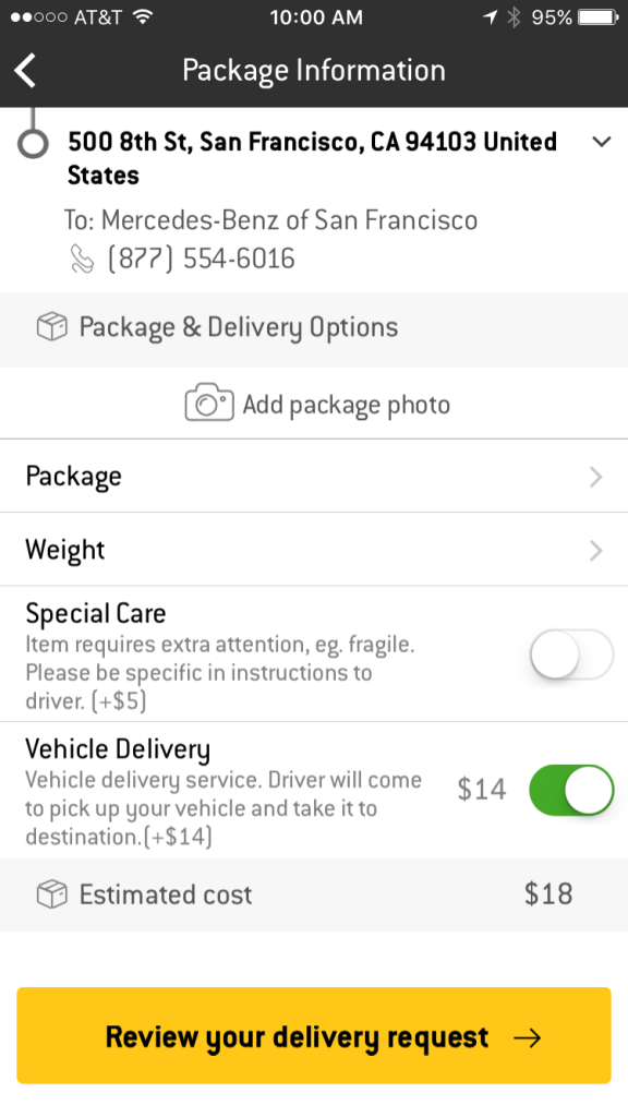Vehicle Delivery Option