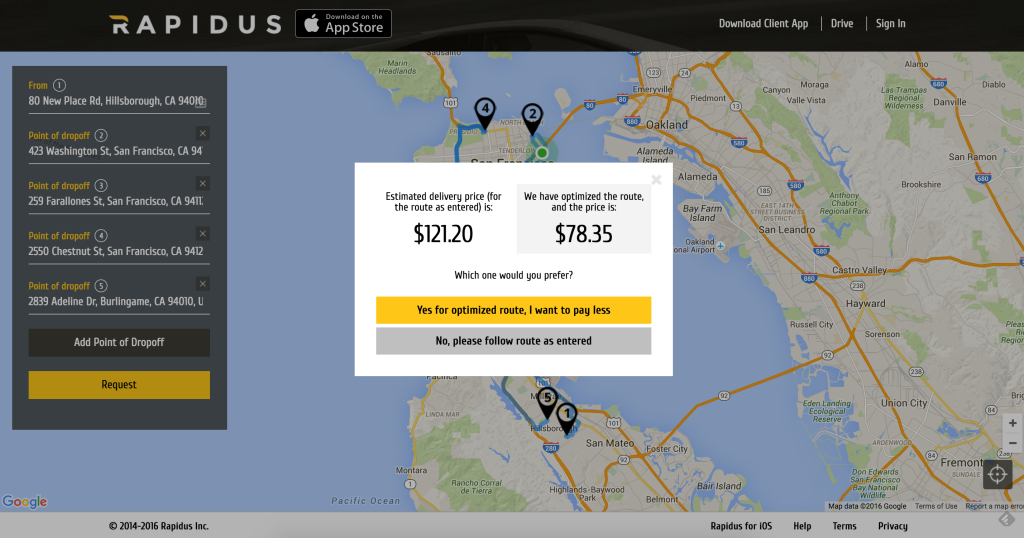 Delivery Route Optimization by Rapidus